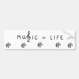 MUSIC = LIFE CAR BUMPER STICKER