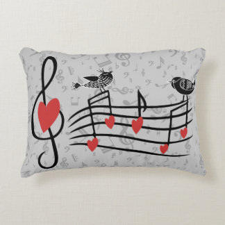 Music Love Birds on Gray Musical Notes Accent Pillow
