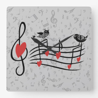 Music Love Birds on Gray Musical Notes Square Wall Clock