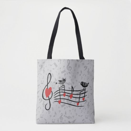 Music Love Birds on Gray Musical Notes Tote Bag