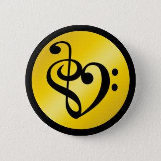 Music Love Heart Symbol Clef Notes in Gold Black Pinback Button