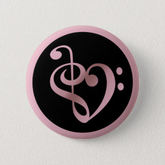 Music Love Heart Symbol Clef Notes in Rose Gold Pinback Button