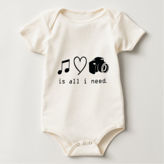 Music Love Photography  is all I Need Baby Bodysuit