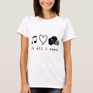 Music Love Photography  is all I Need T-Shirt