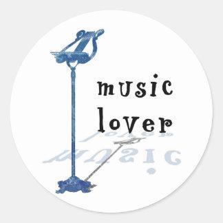 Music Lover Classic Round Sticker