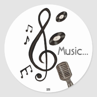 Music Lover Classic Round Sticker