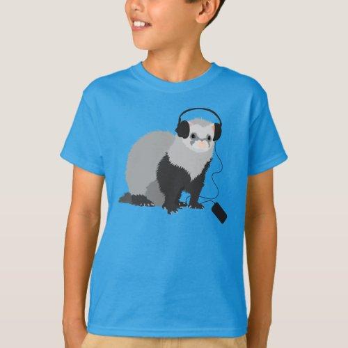 Music Lover Ferret Kids T_Shirt