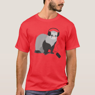 Music Lover Ferret Mens T-shirt at Zazzle