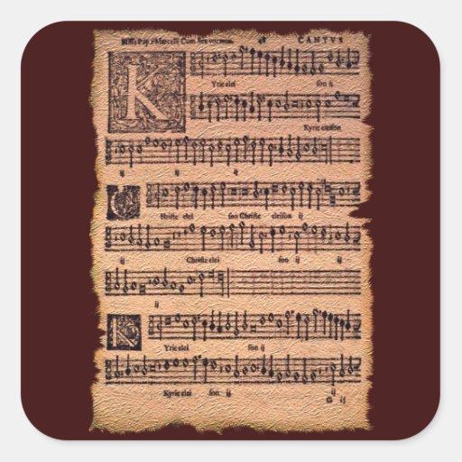 MUSIC LOVER Gregorian Chant Sheet Music Stickers