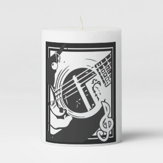 Music Lover Guitar Playing Black And White Pillar Candle