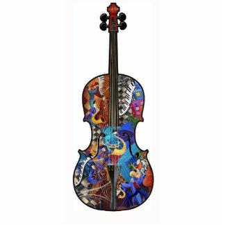 Music Lovers Cello Violin Photo Art Sculpture Standing Photo Sculpture