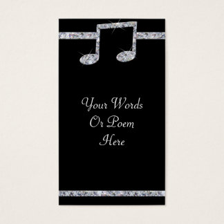 Music Lovers Diamond Shimmer On Black Wedding Business Card