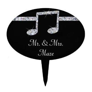 Music Lovers Diamond Shimmer On Black Wedding Cake Topper