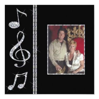 Music Lovers Diamond Shimmer On Black Wedding 5.25x5.25 Square Paper Invitation Card