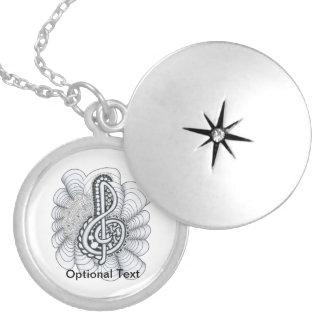 Music Lovers Treble Clef Design Round Locket Necklace