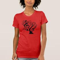 Music Lovers Treble Clef Tree Ladies T-Shirt