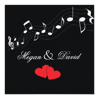 """Music Lover's Wedding Invitation 5.25"""" Square Invitation Card"""