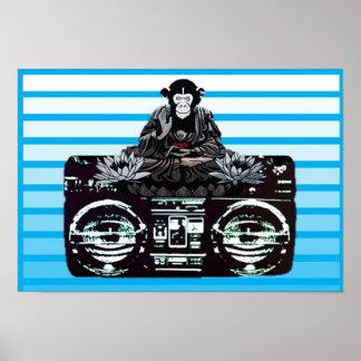 Music Loving Guru Monkey Poster