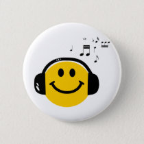 Music loving smiley button