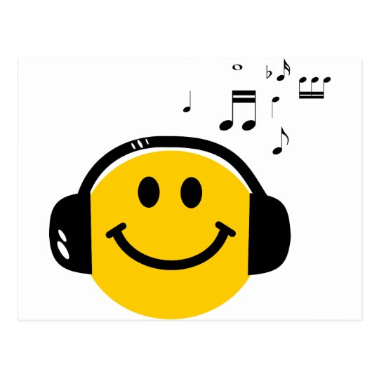 Music loving smiley postcard