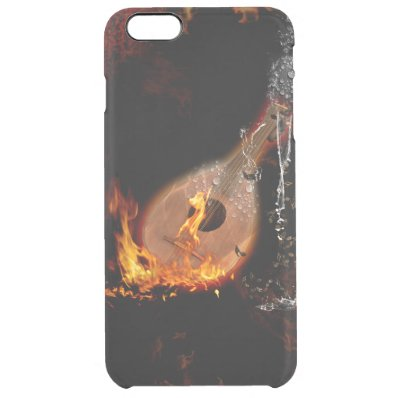 Music. lute with water splash clear iPhone 6 plus case