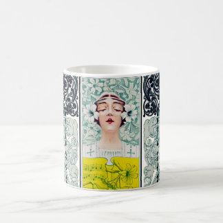 Music Magazine Cover Art Nouveau Woman Lily Mug