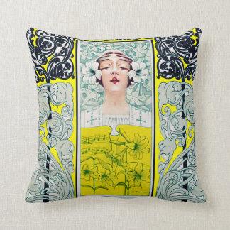 Music Magazine Cover Art Nouveau Woman Lily Pillow