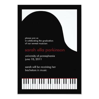 """Music Major Grand Piano Graduation Announcement 5"""" X 7"""" Invitation Card"""