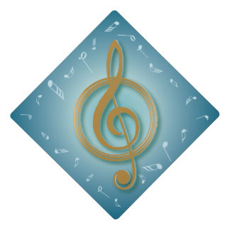 Music Major Notes Blue and Gold Graduation Cap Topper
