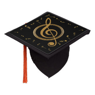 Music Major Notes Gold Graduation Cap Topper
