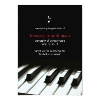 """Music Major Piano Graduation Announcement 5"""" X 7"""" Invitation Card"""
