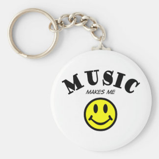 Music Makes Me Smile Basic Round Button Keychain