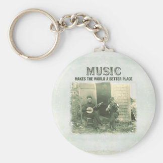 Music makes the world a better place vintage photo basic round button keychain