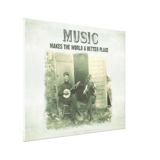 Music makes the world a better place vintage photo canvas print