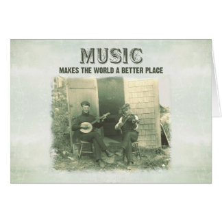 Music makes the world a better place vintage photo card