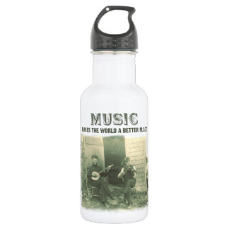 Music makes the world a better place vintage photo 18oz water bottle