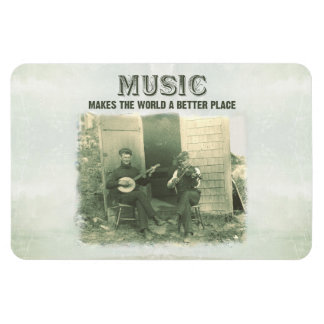 Music makes the world a better place vintage photo magnet