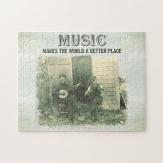 Music makes the world a better place vintage photo jigsaw puzzle