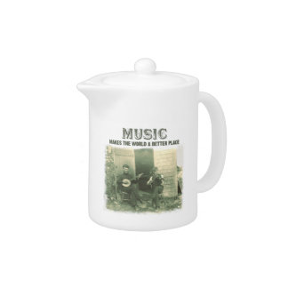 Music makes the world a better place vintage photo teapot