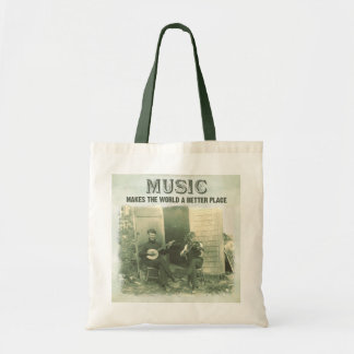 Music makes the world a better place vintage photo tote bag