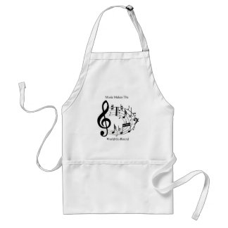 Music Makes The World Go Round Adult Apron