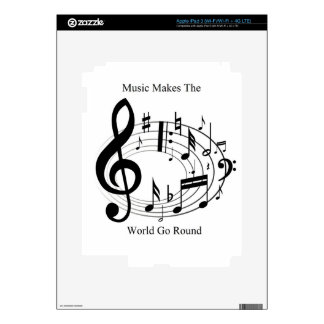 Music Makes The World Go Round Decals For iPad 3