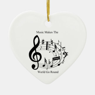 Music Makes The World Go Round Double-Sided Heart Ceramic Christmas Ornament