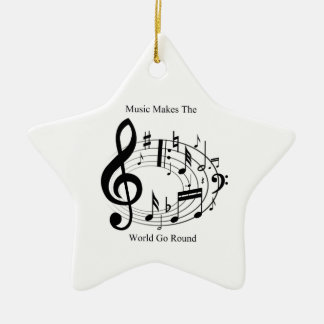 Music Makes The World Go Round Double-Sided Star Ceramic Christmas Ornament