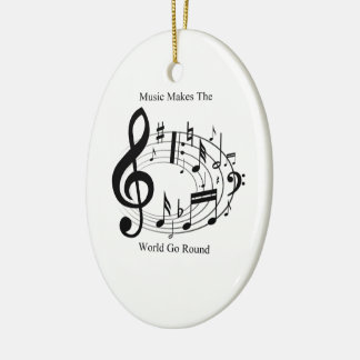Music Makes The World Go Round Double-Sided Oval Ceramic Christmas Ornament