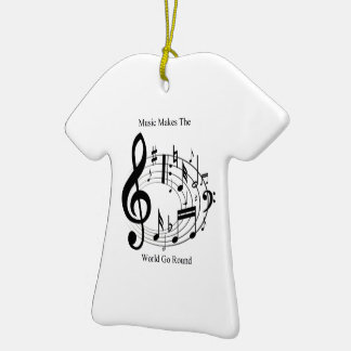 Music Makes The World Go Round Double-Sided T-Shirt Ceramic Christmas Ornament