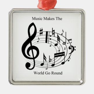 Music Makes The World Go Round Square Metal Christmas Ornament