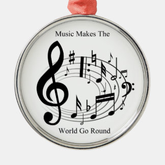 Music Makes The World Go Round Round Metal Christmas Ornament