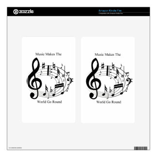 Music Makes The World Go Round Skin For Kindle Fire