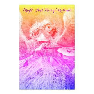 MUSIC MAKING ANGEL Pink Purple Blue Christmas Stationery